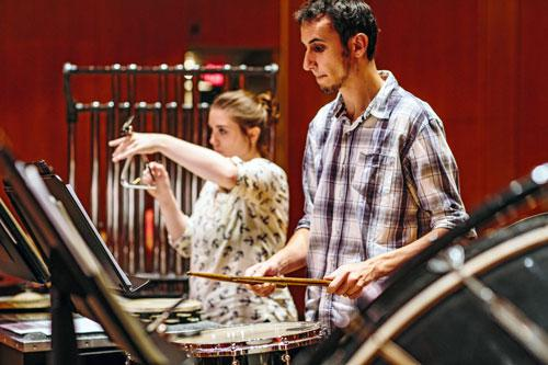 Percussionists at Rehearsal, UI Wind Symphony at Krannert Center, Photo by Justine Bursoni