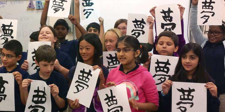Kids with Calligraphy at Japan House